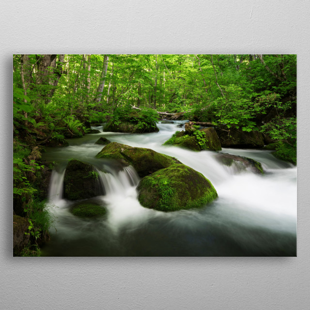The meandering stream is full of everything, and the green vegetation declares: Spring is here. metal poster