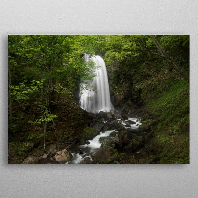 The waterfall is a hermit who lives in the mountains. If you want to appreciate its beauty, you have to travel long distances. metal poster
