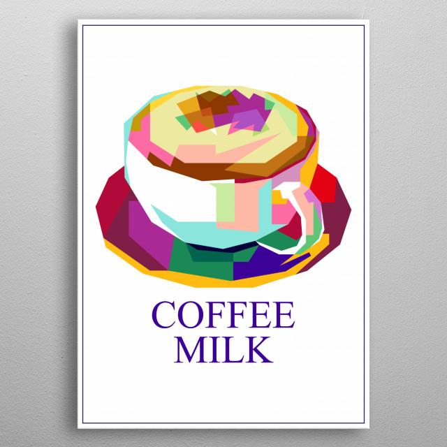Coffee Milk Design Illustration metal poster