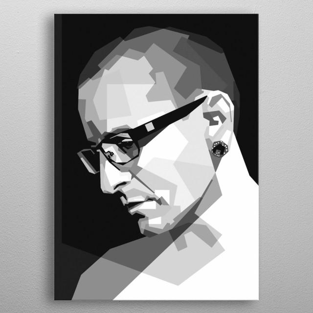 Portrait of Chester Benington metal poster
