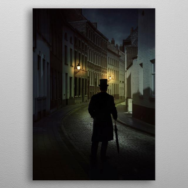 Alleys of Brugge at night. Belgium metal poster