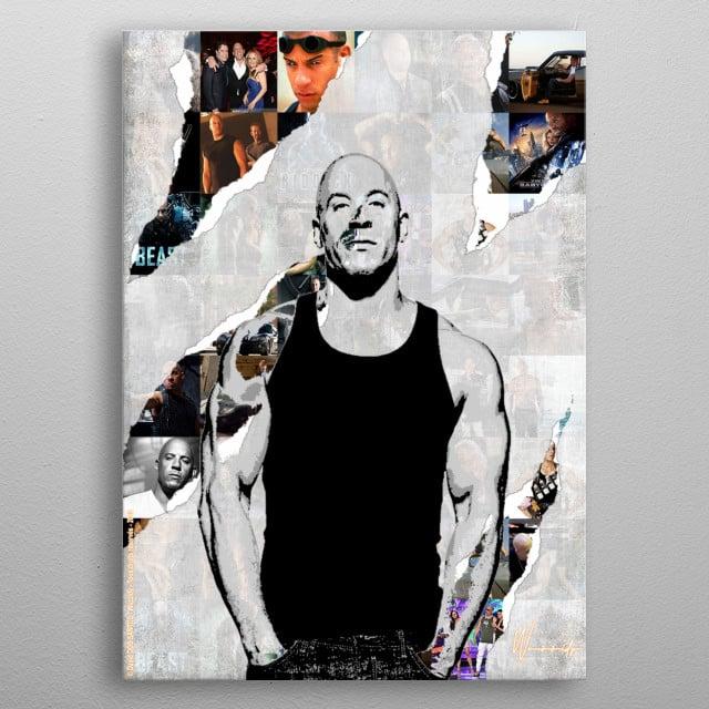 Illustration of Vin Diesel metal poster