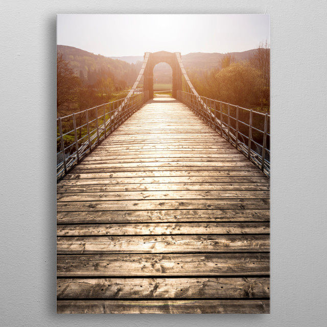 The Bridge of Oich is a taper principle suspension bridge, built in 1854 it spans the River Oich just south of Fort Augustus metal poster