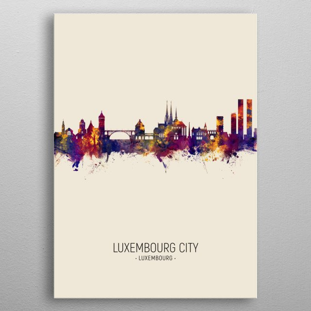 Watercolor art print of the skyline of Luxembourg City, Luxembourg metal poster