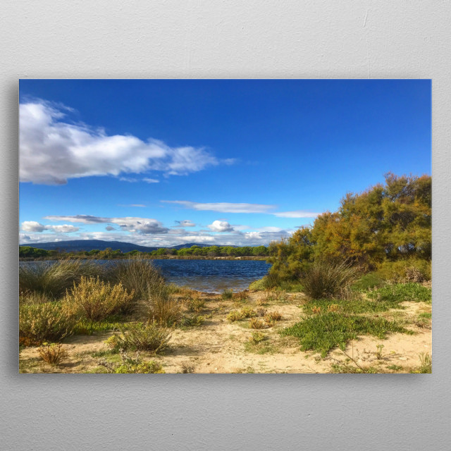 Linked to the sea, a magnificent salt lake, with small beaches, remained practically wild, since it is a protected natural area. Beautiful. metal poster