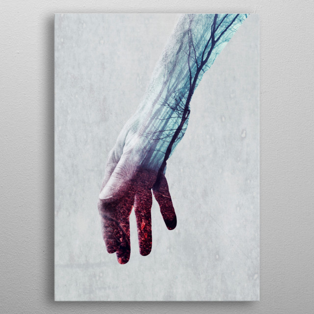 Double exposure featuring a forearm and a fall forest metal poster