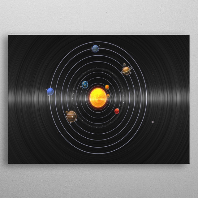 Vinyl with solar system in circle metal poster