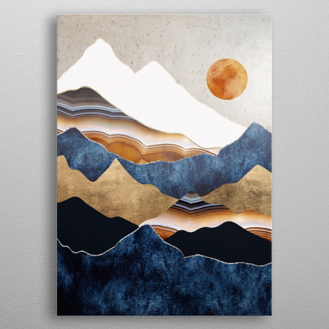 Abstract landscape depicting an amber sun with mountains, gold and indigo metal poster