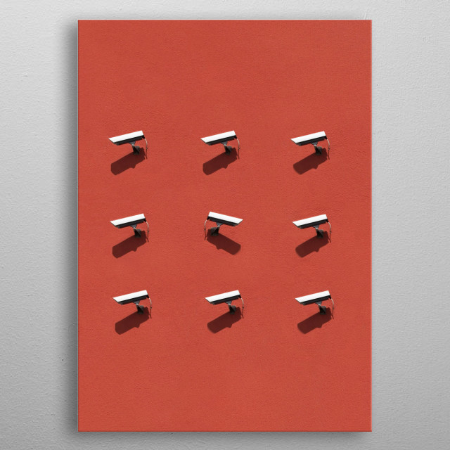 A lot of surveillance cameras on a red wall  metal poster