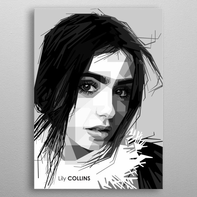 Portrait of Lily Collins. metal poster