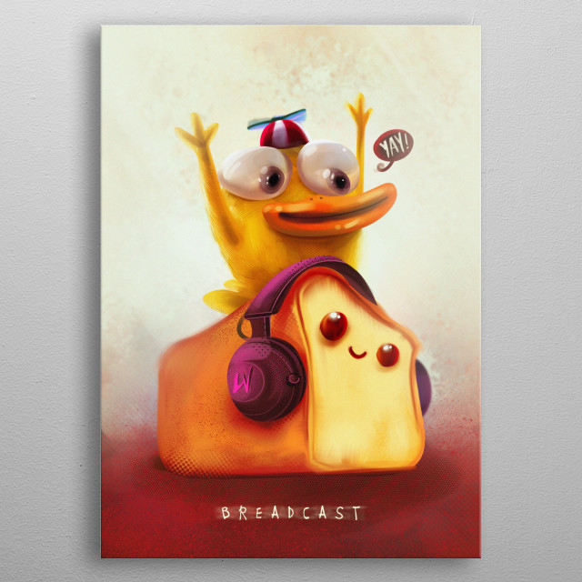 A hyper duck and a bread buddy enjoying a live stream broadcast! metal poster
