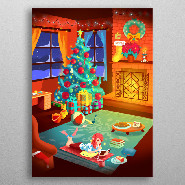 Always planning her next vacation. Exclusive Mistletoe print from Gibi ASMR! metal poster