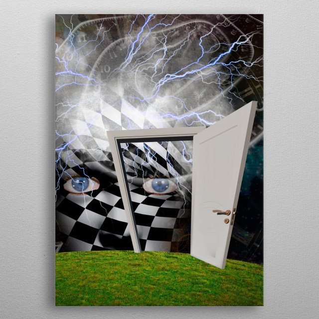 Mask with checkered pattern. Time spirals and white doorway metal poster