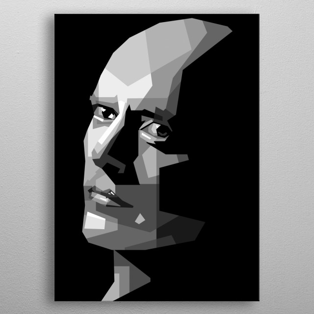 portraits of bald heads are illustrated into geometric lines in black and white metal poster