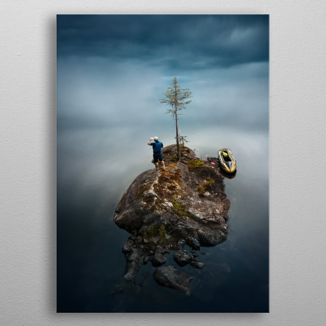 Short story of a man on the way to reach his goals. metal poster