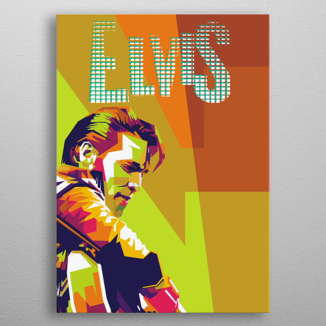 Elvis Aaron Presley is an American singer and songwriter and actor.  Regarded as one of the most influential cultural icons of the 20th  metal poster