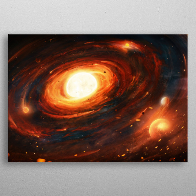 The birth of a solar system.  metal poster