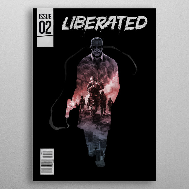 Cover art for Issue #2 of Liberated, a Playable Graphic Novel. metal poster