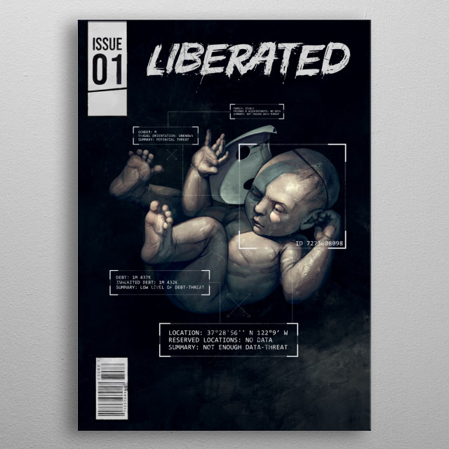 Cover art for Issue #1 of Liberated, a Playable Graphic Novel. metal poster
