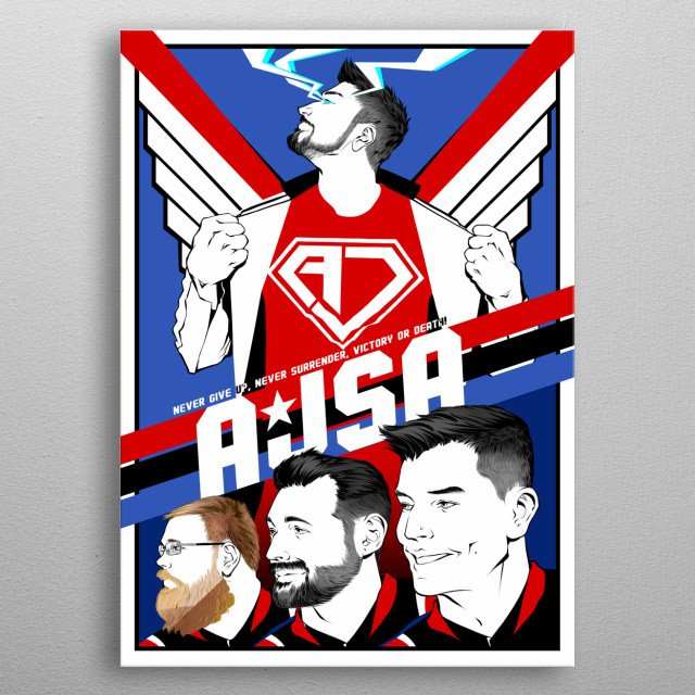 Runner-up in the 1st Annual AJSA Poster Contest! The Full Crew in all their newly handsome glory! Via Artist: Bushra Ahmed metal poster