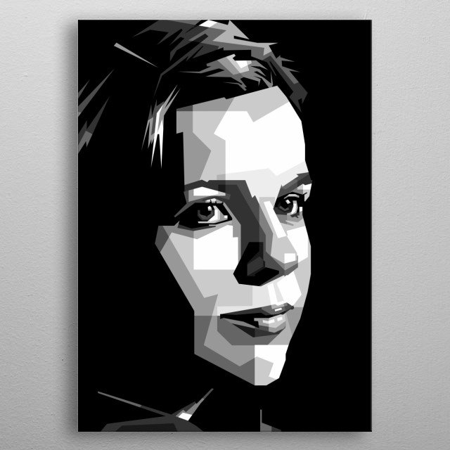 black and white woman in design ilustration with vector pop art (grayscale) metal poster