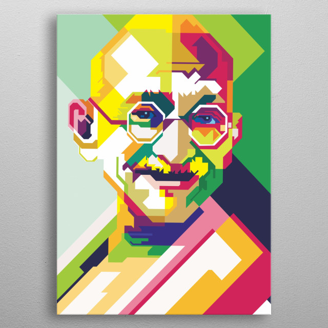 Mohandas Karamchand Gandhi is a spiritual leader and politician from India.  Gandhi was one of the most important people involved  metal poster