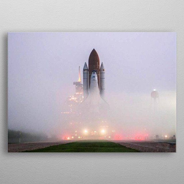 KENNEDY SPACE CENTER, FLA. -   Like a fantasy movie scene, the fog on Launch Pad 39B is pierced by lights on vehicles and the service struct metal poster