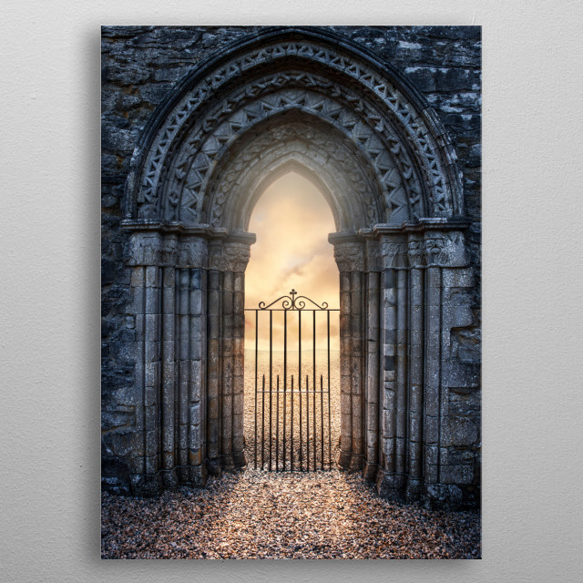 An old portal with steel gate in the early morning. Ireland metal poster