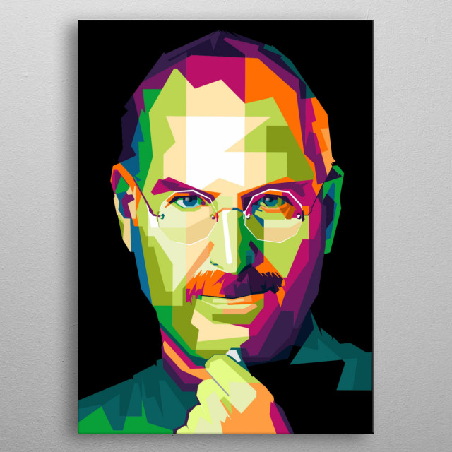 """Steve """"Jobs is a business leader and inventor from the United States. He is the co-founder, chairman, and former CEO of Apple Inc. metal poster"""
