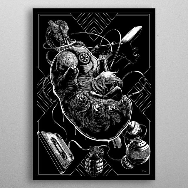 Cryptobiosis, black and white illustration. metal poster