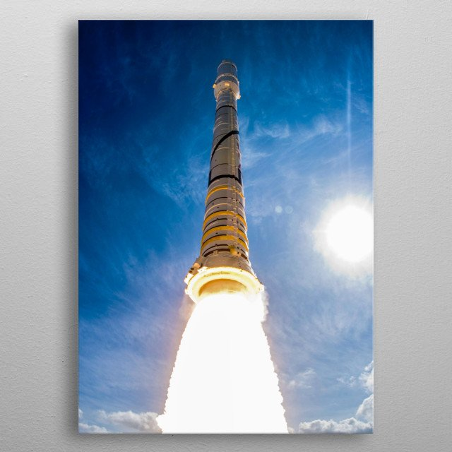 CAPE CANAVERAL, Fla. - With more than 23 times the power output of the Hoover Dam, NASA's Ares I-X test rocket soars into blue skies above L metal poster