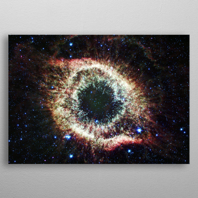 A newly expanded image of the Helix nebula lends a festive touch to the fourth anniversary of the launch of NASA's Spitzer Space TelescopeNA metal poster