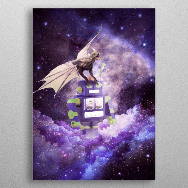 Pick up this funny awesome galaxy dragon design. This cosmic dragon robot design makes a perfect gift. metal poster