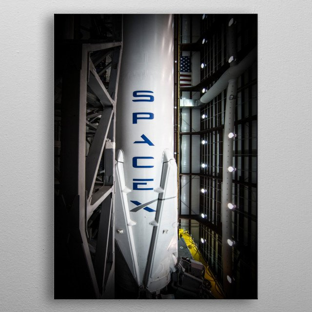 Falcon 9 is a two-stage-to-orbit medium lift launch vehicle designed and manufactured by SpaceX in the United States. metal poster