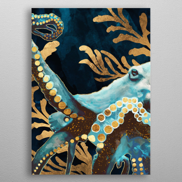 Abstract depiction of an octopus with gold, indigo and teal metal poster