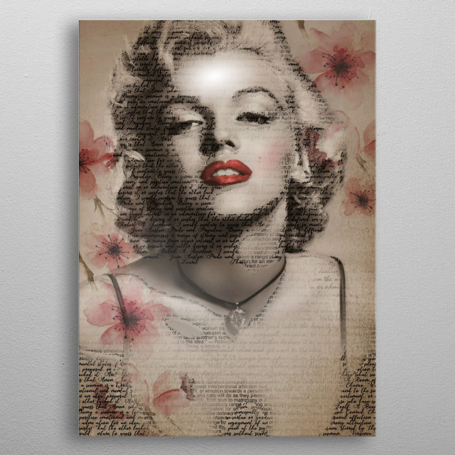 The blonde bombshell art in semi text. metal poster