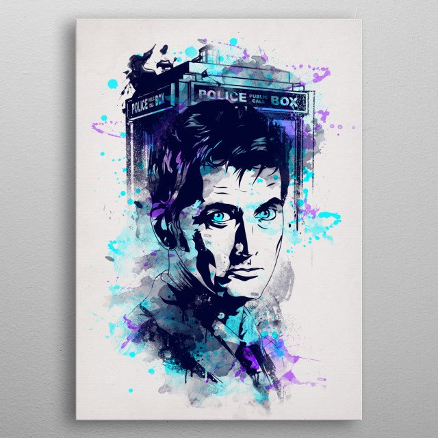 Watercolor design of the tenth doctor metal poster