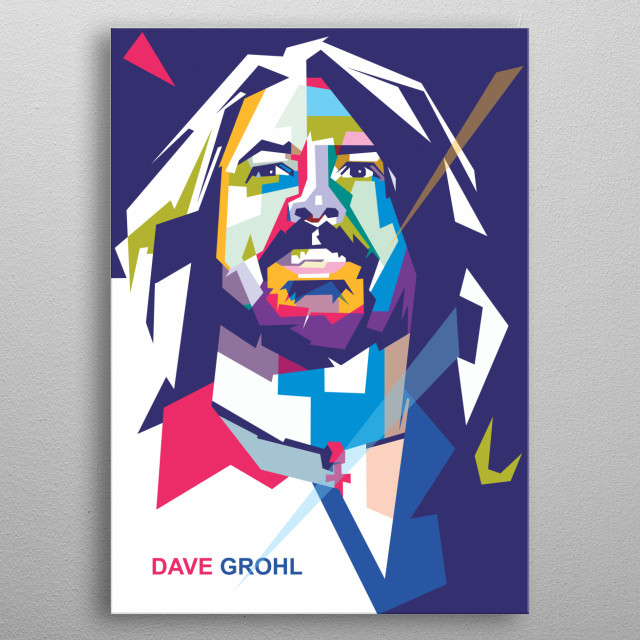Illustration of Dave Grohl in wpap pop art portrait metal poster