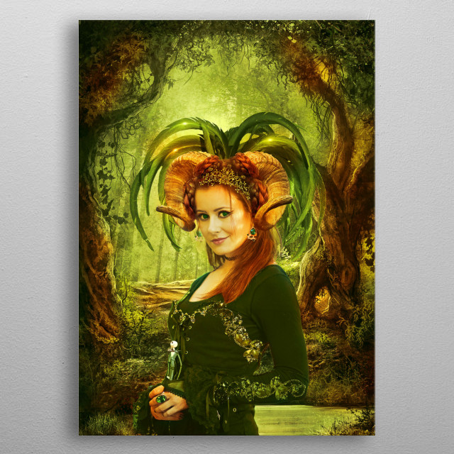 Portrair of a young witch inspired by fantasy books. metal poster