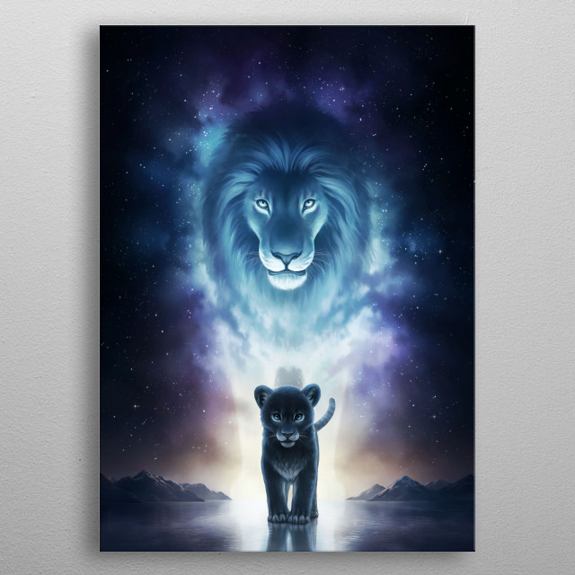 Illustration of a majestic nebula lion and his cub in front of a stunning galaxy. metal poster