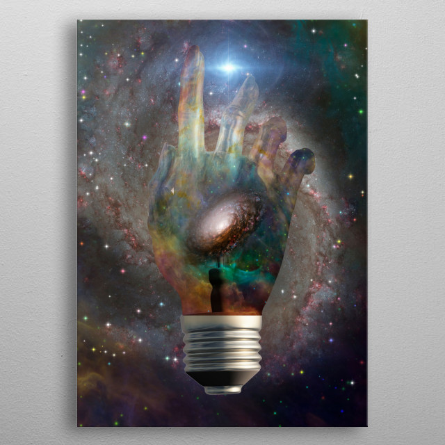 Cosmic light bulb with stars metal poster