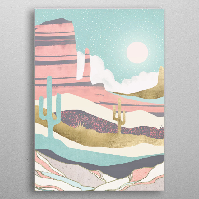 Abstract landscape of a desert sun with aqua, coral and gold metal poster