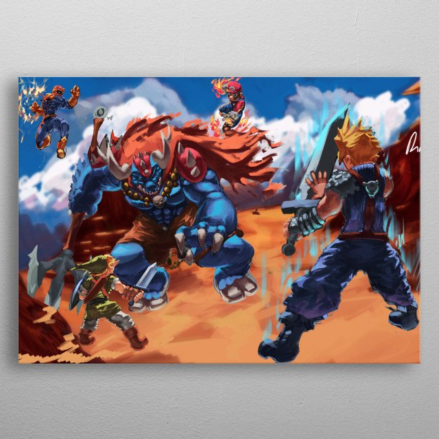 Illustration of smash characters brawling out ganon. metal poster