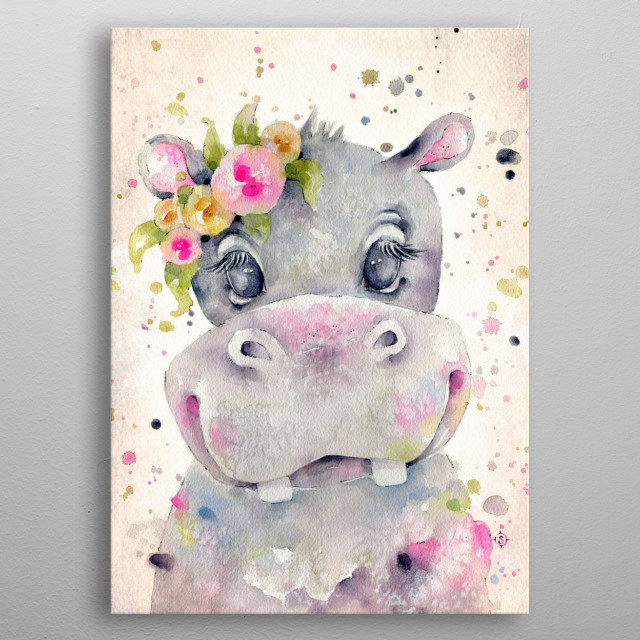 A cute baby hippo created with water colours metal poster