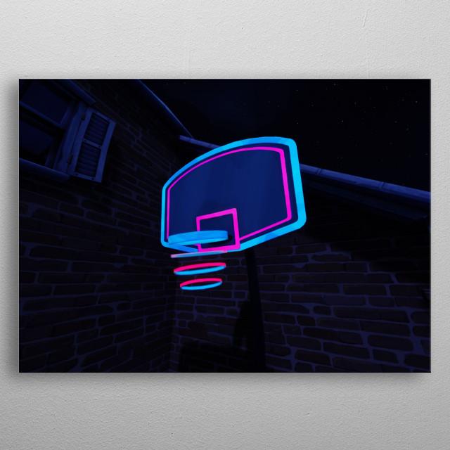 Basketball Hoop in Fortnite Battle Royale metal poster