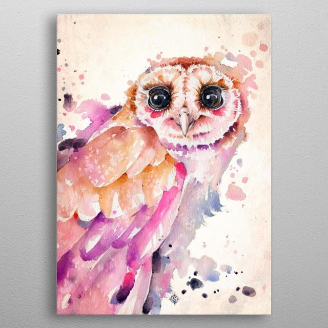 A dramatic barn owl portrait, created in twilight colours with watercolours metal poster