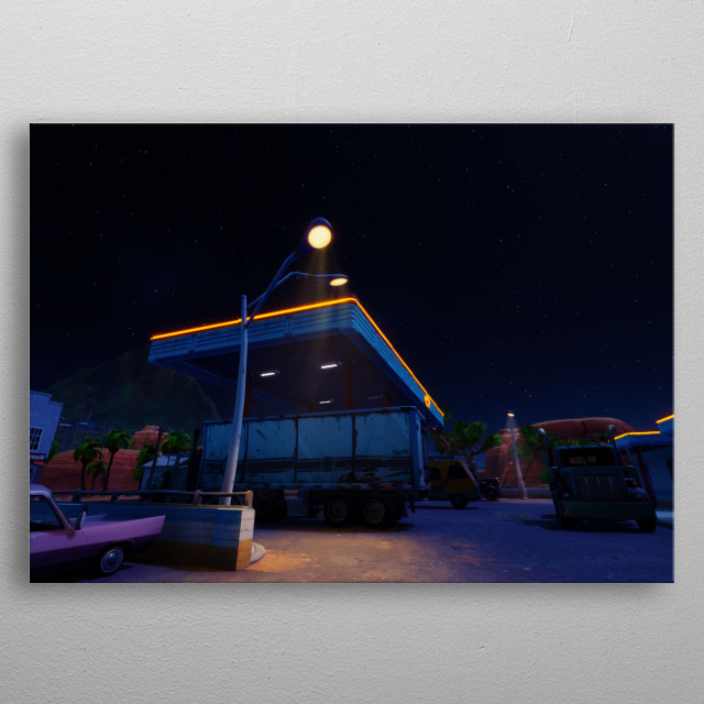 Truck N Oasis is a gas station in Fortnite battle royale. metal poster
