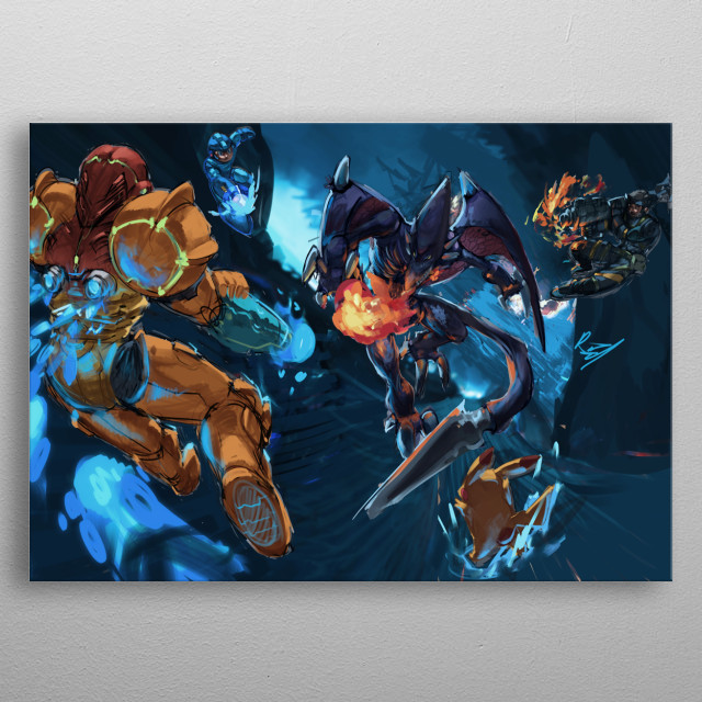 Illustration of Smash Character fighting it out  against Ridley metal poster