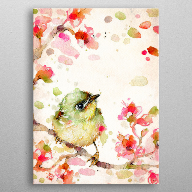 A cute mischevious baby bird sitting on a cherry blossom branch, created with water colours metal poster