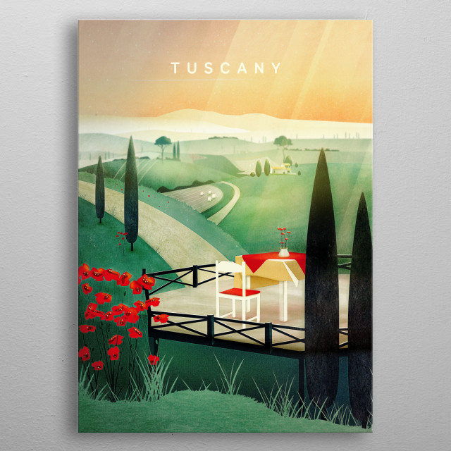 This dreamy tuscany landscape shows an Italian countryside in summer,  surrounded by fields, poppies and cypress. metal poster